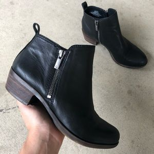 Lucky Brand Black Leather Ankle Boots Size 6